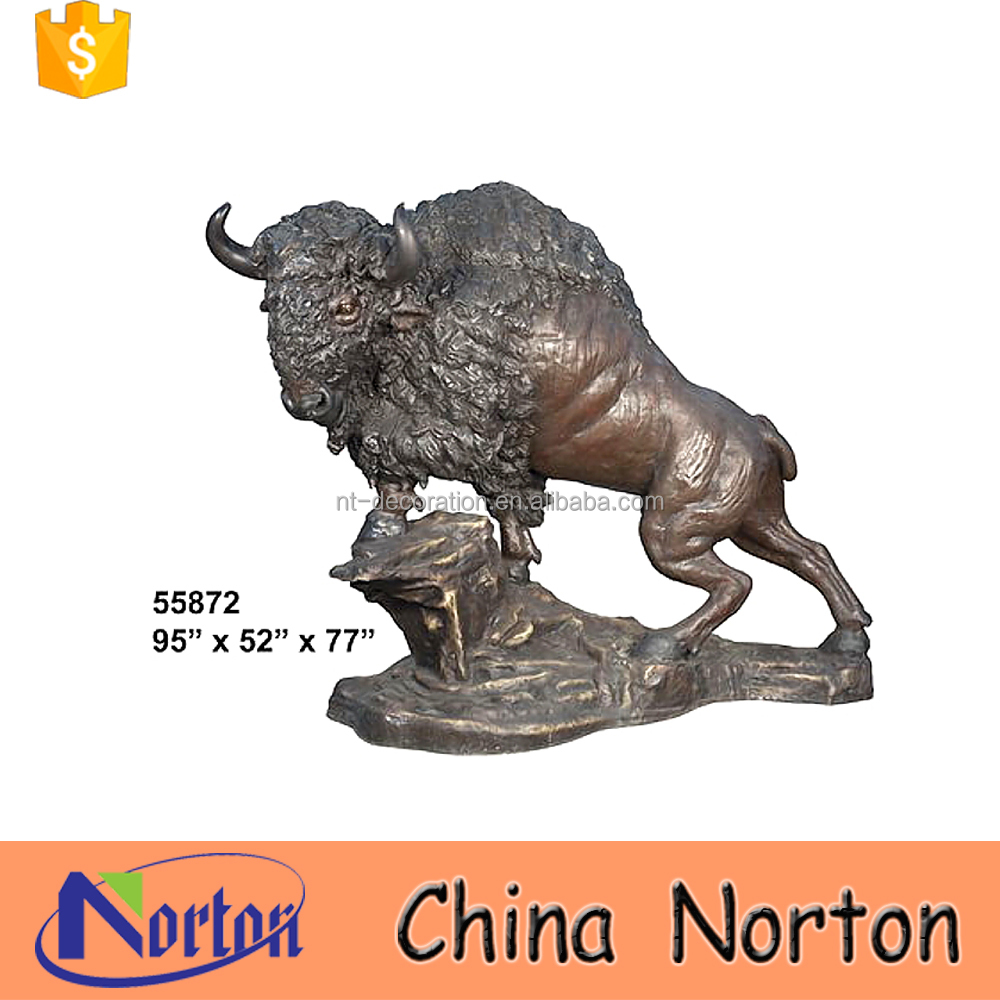 Real estate project bronze art large Bison on the rock sculpturesNTBA-B018Y