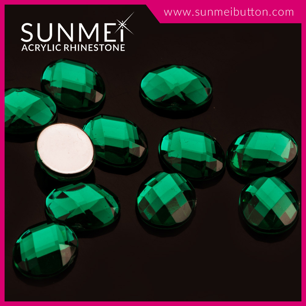 Ellipse Shape Flatback Green Color Plastic Acrylic Gems For Bags Ornament