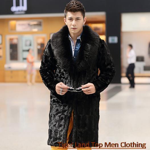 homem inverno falso casaco de pele de raposa outwear. Black Bedroom Furniture Sets. Home Design Ideas