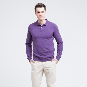 4e2b28005328 custom slim fit polo t shirt mens purple plain long sleeve polo shirt 220  grams