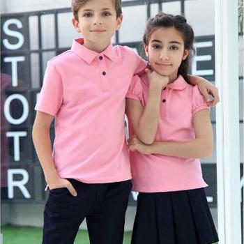 bcad1bc8 New Design Pink Color School uniform Cotton Polo Shirt For Students Wear