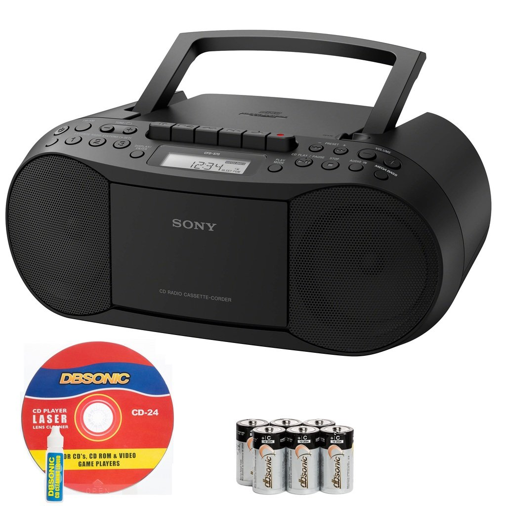 Sony Compact Portable Stereo Sound System Boombox with MP3 CD Player, Digital Tuner AM/FM Radio, Tape Cassette Recorder, Headphone Output & 3.5mm Audio Auxiliary input Jack to connect any iPod, iPhone or Digital Audio Device - Features: Mega Bass Reflex Speakers, 20 Track RMS Programming, 30