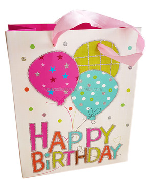 Wholesale Paper Packaging Happy Birthday Gift Bag With Ribbon Handles