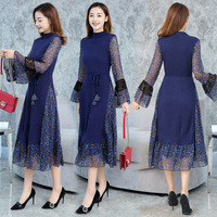 Haobaby,2019 Spring and Autumn New Slim Long Dress Tie Waist Slimming Long Sleeve Skirt Ladies Knit Dress.