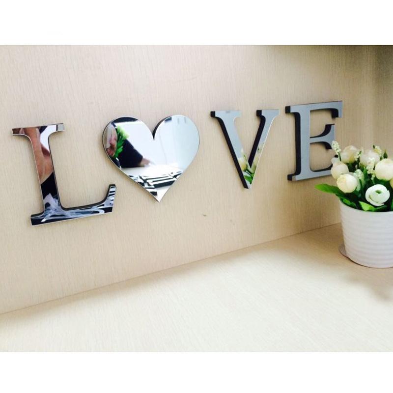 Amazom Venta caliente decoración del hogar creativo 3D acrílico espejo cara Pared de letras en inglés pegatina