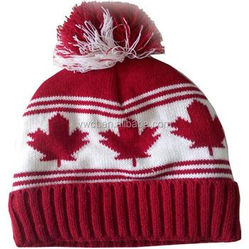 5ff99cb4d33 Customizable Women Winter Canada Toque Jacquard Maple Leaf Beanie Hat With Pom  Pom