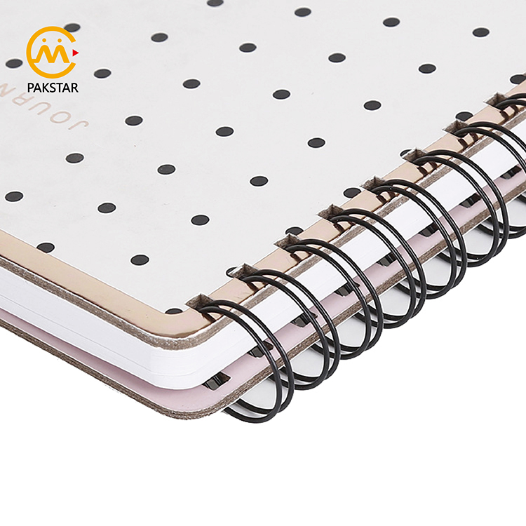 Factory bulk buy custom black dotted hardcover custom printed spiral planner notebook journal