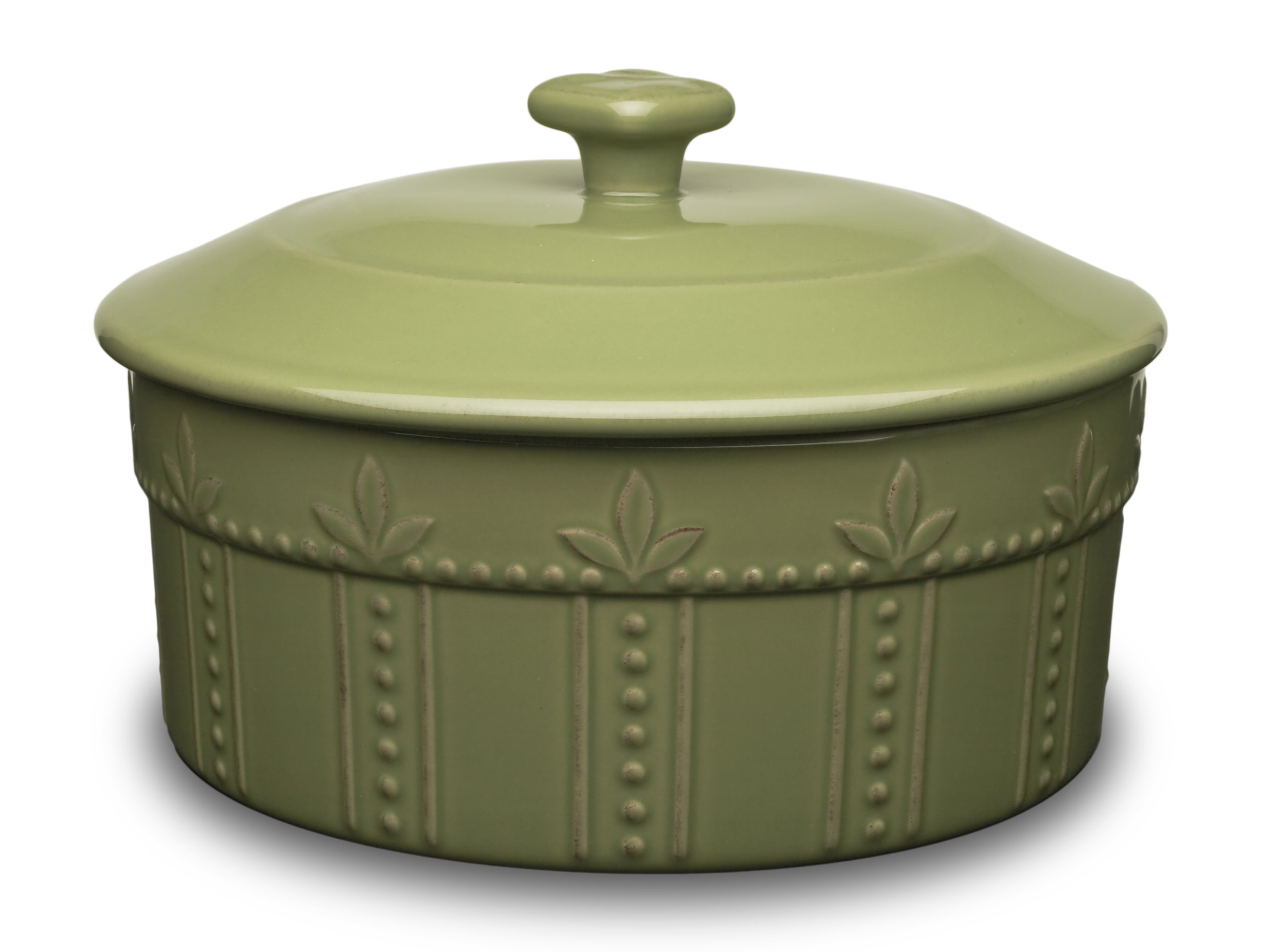 Signature Housewares Sorrento Collection 8.5-Inch Covered Souffle Dish, Green Antiqued Finish