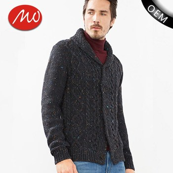 Cable Knit Pattern Design Cardigan Mens V Neck Sweater With High