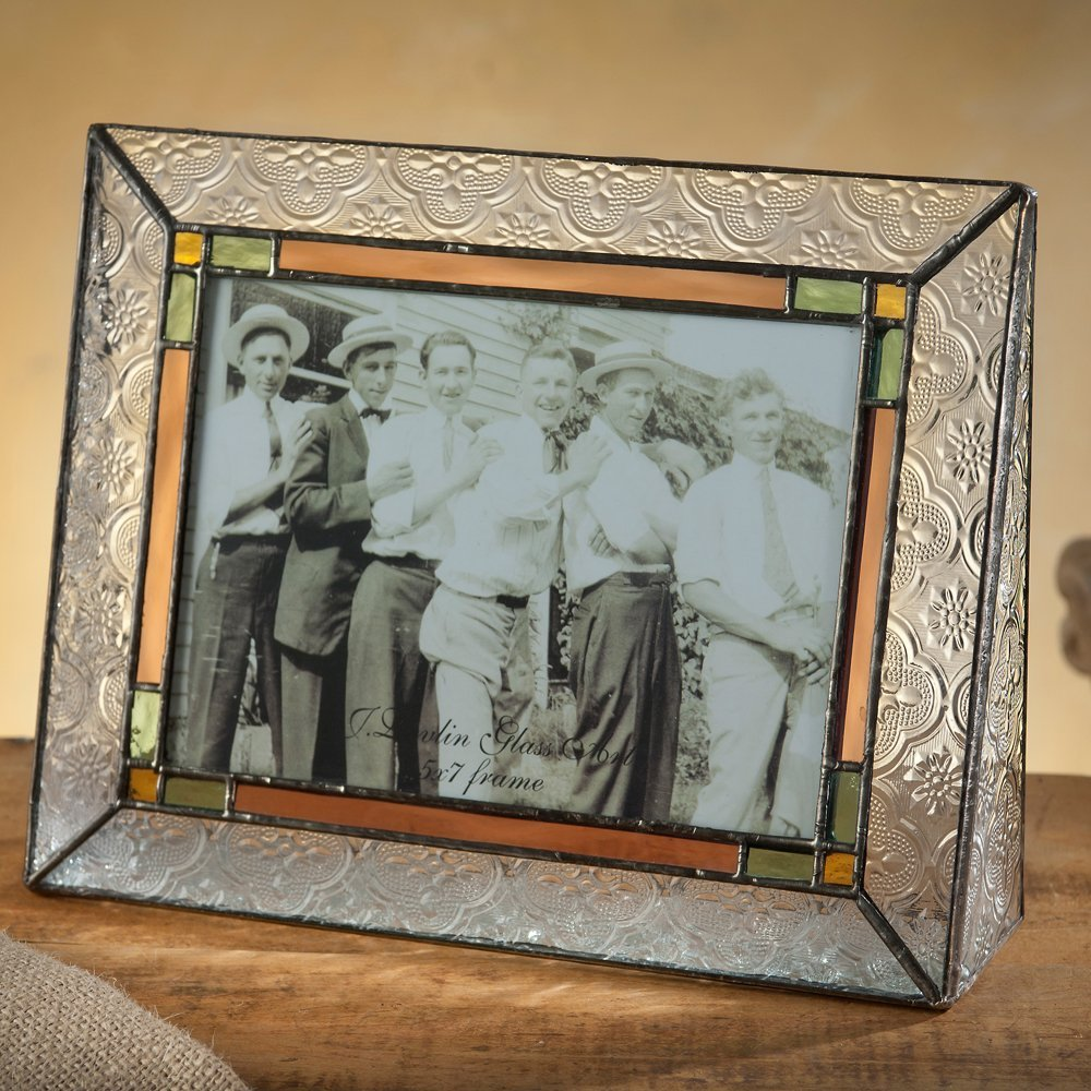 J Devlin Pic 137-57H Picture Frame Stained Glass Green Pale Purple Amber Tabletop 5x7 Horizontal Family Photo