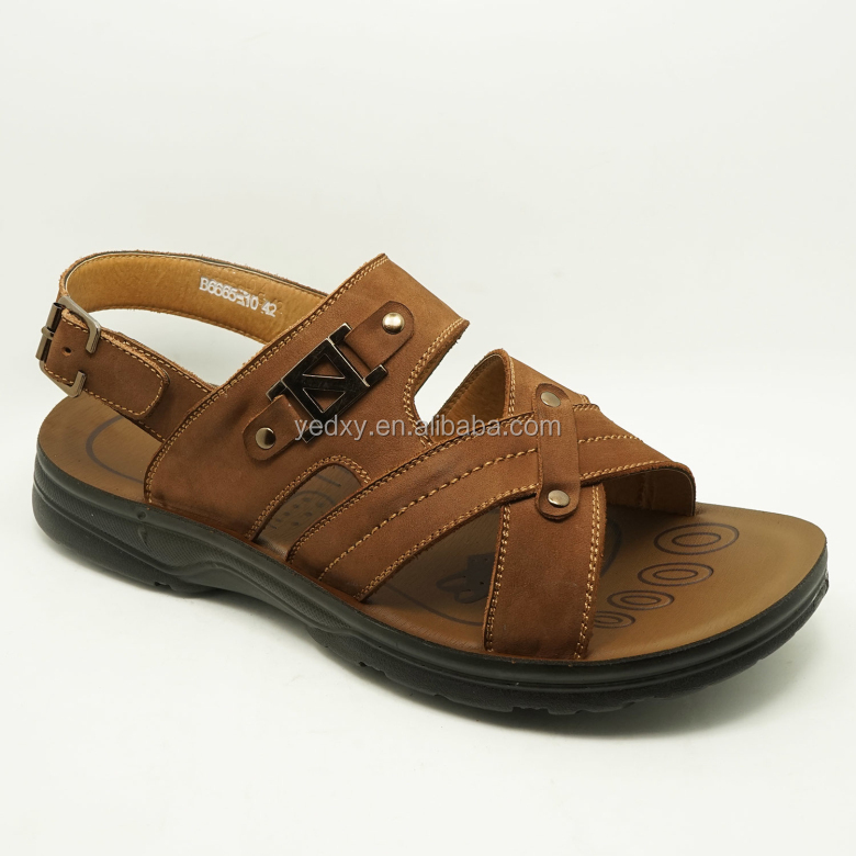 italian style comfortable men flat cow leather sandals