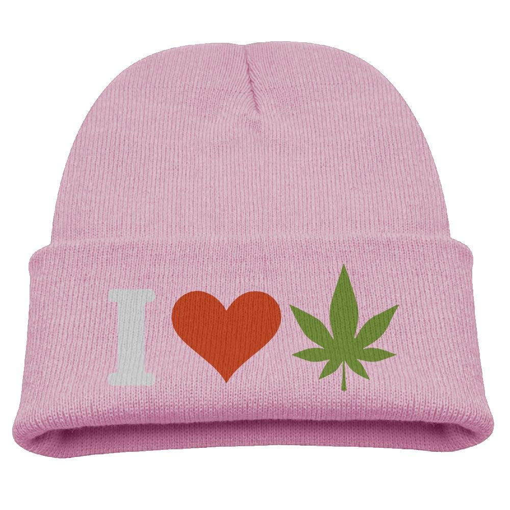 5f162996bc9 Get Quotations · Children s Warm Knitted Hat I Love Weed Kintting Hat