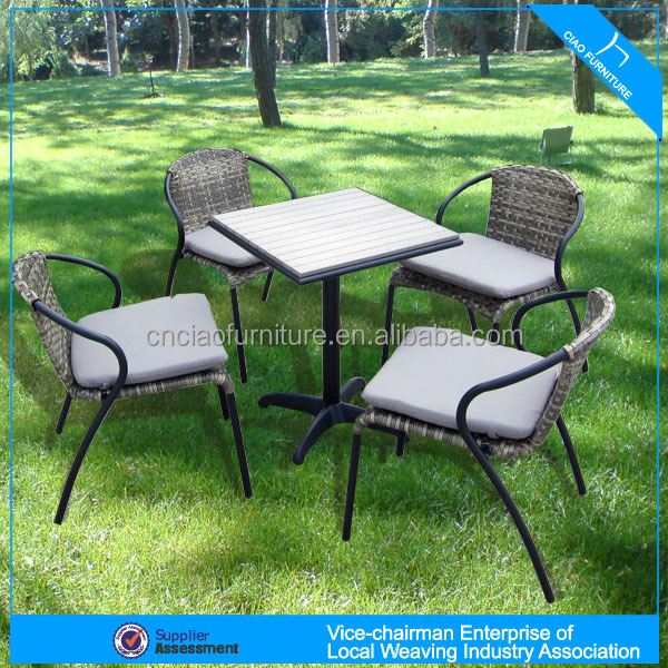 A - patio furniture small dining set tea table and wicker chairs 711+646