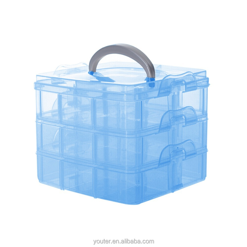 Plastic Compartment DIY Home Organizer Boxes Cosmetic Storage Case