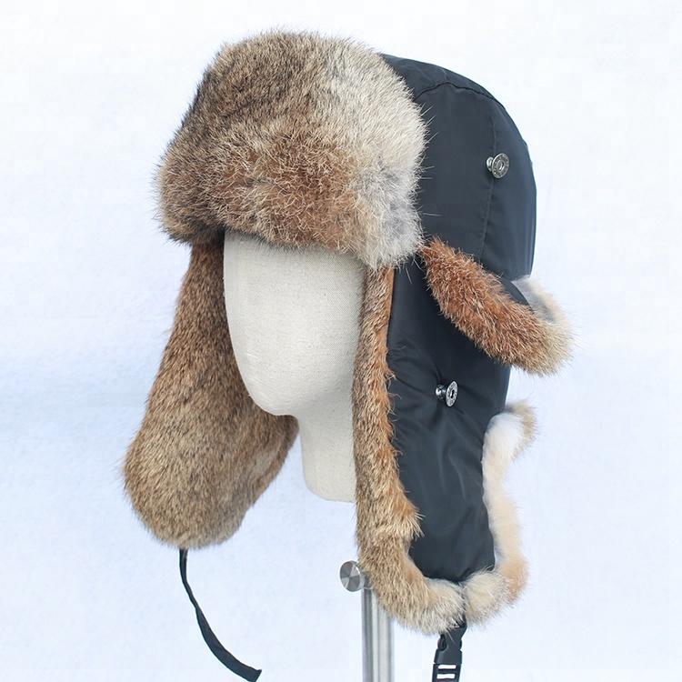 d34ed02114f 2018 Men Winter Russian Soviet Fur Hat Rabbit Fur Ear Cuff Hat Russian  Military Fur Hat - Buy Man Winter Earflaps Hat Ushanka Eskimo Hat Soviet  Fur Hat Cap ...