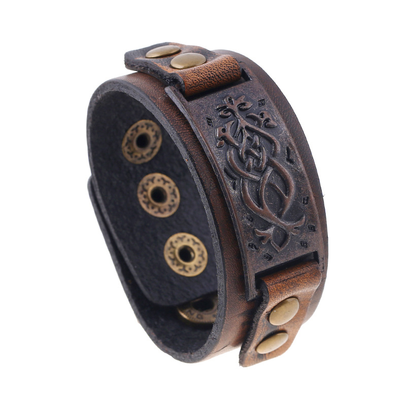 Wholesale Men's Leather Cuff With Anti Copper Metal Charm 2019 Latest Punk Jewelry