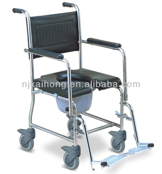 Commode wheelchair with 4 castor