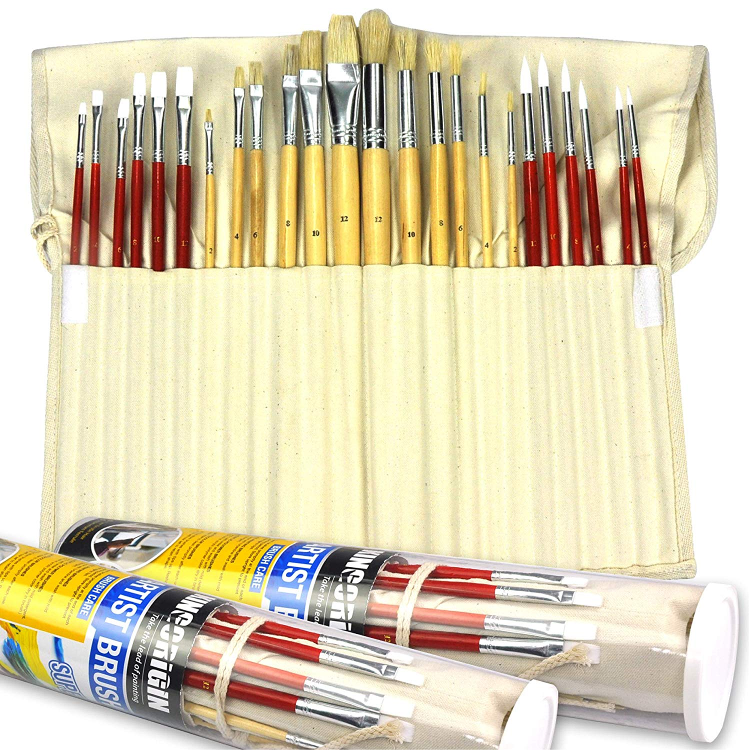 24 Piece Premium Paint Brush Artist Brush Set for Watercolor Oil Acrylic Painting with Canvas Holder,Paint Brushes for Kids,Office,School,Brush Set