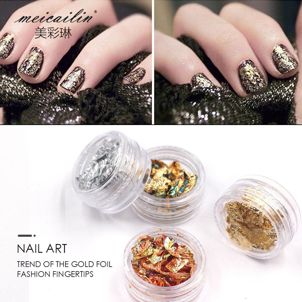 Nail Art Gold Silver Paillette Flake Chip Foil 4 Color Design Nail ...