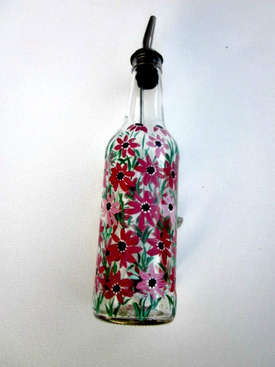 Dish Soap Dispenser, Oil and Vinegar Bottle, Hand Painted Glass Bottle, Kitchen Decoration, Shades of Berry and Pink Flowers