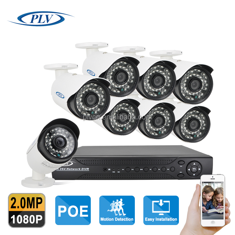 1080P POE NVR and POE cameras 8ch 2MP network camera ip 8 channel cctv camera system
