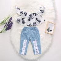 Toddler Girl Vintage Camera Off Shoulder Crop Top + Blue White Lace Up Jeans 2 Pcs Stylish Girl Outfit Summer Set for 1-5T