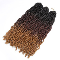 New Wavy Goddess locs hair extension 3tone Color Ombre Faux Locs Crochet Braiding Hair