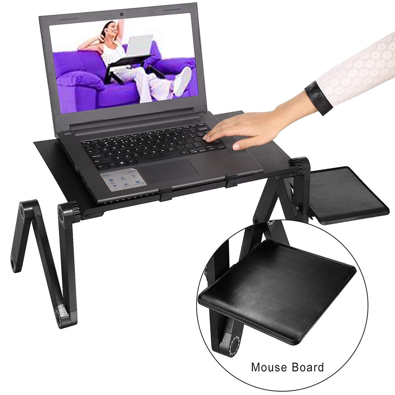 Creine Portable 360° Adjustable Aluminum Laptop Table, Light Weight Ergonomic Design Folding Laptop Desk Computer Stand Bed Lap Tray Stand with Removable Mouse Pad (US STOCK)