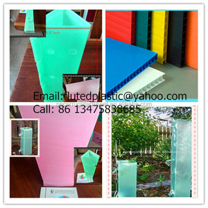 Folding pink core flute tree guards/Square coroplast tree shelter/green corrugated plastic tree protector