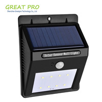 Factory Direct Sale Waterproof 6 8 16 20 LED Solar Power Fence Security Light, Outdoor LED Solar Garden Light with Motion Sensor