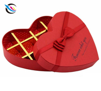 Customized heart shape empty colorful chocolate packaging gift box with ribbon tie