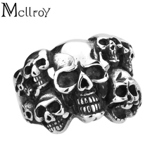 Mcllroy latest design hip hop rock male jewelry titanium steel exaggerated skull men's ring