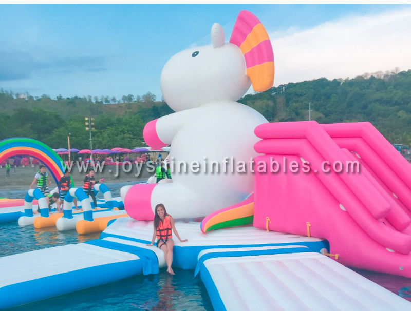 Giant Unicorn Theme Island Aqua Park Adult Water Playground Obstacle Course Equipment Inflatable Sea Floating Platform For Sale