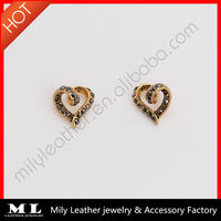 MLAE-069 Fashion antique gold plated black diamond rotate heart eyes Alloy earring