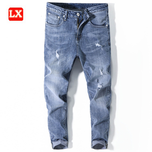 Original Branded Fashion Men Jeans Ripped Denim Fabric Blue Washed High Quality Trousers Men