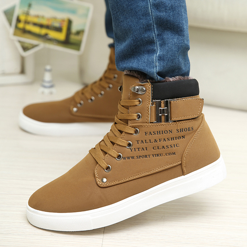 9b8b0750a4071 Wholesale Men Shoes 2016 Top Fashion New Winter Front Lace Up Casual Ankle Boots  Autumn Shoes Men Wedge Fur Warm Leather Footwear Office Shoes Running Shoes  ...