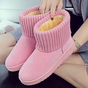 Hot sale woman plush warm anti season round head Middle shoes winter snow boots