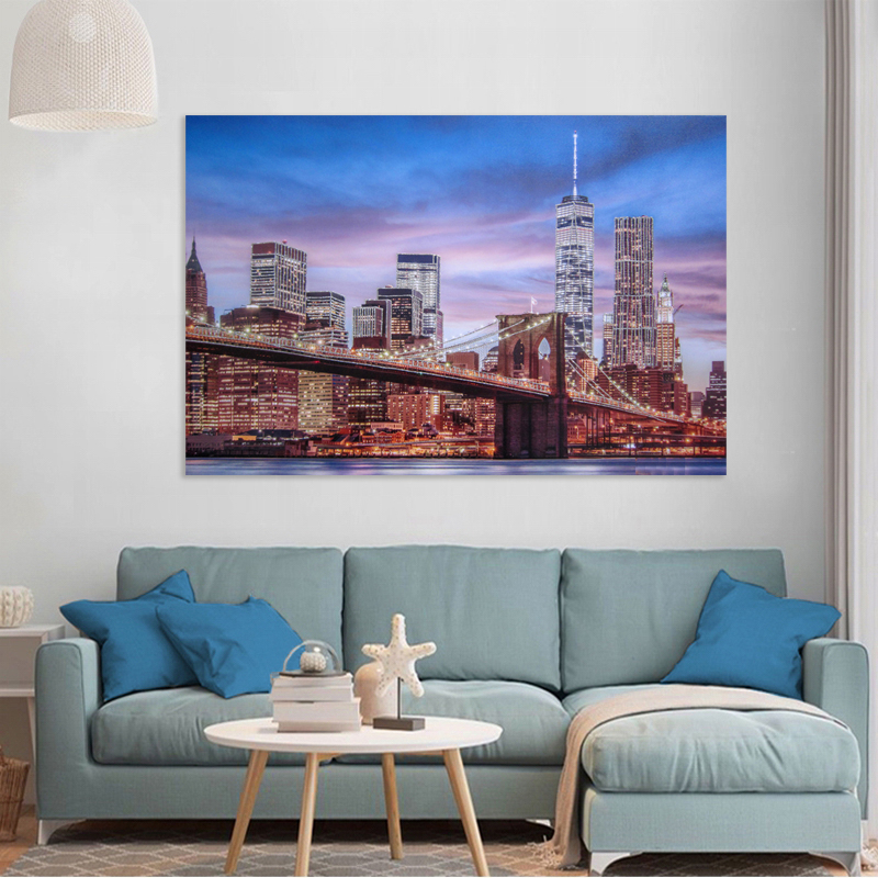 New York city bridge landscape led lighted canvas wall art print <strong>pictures</strong>