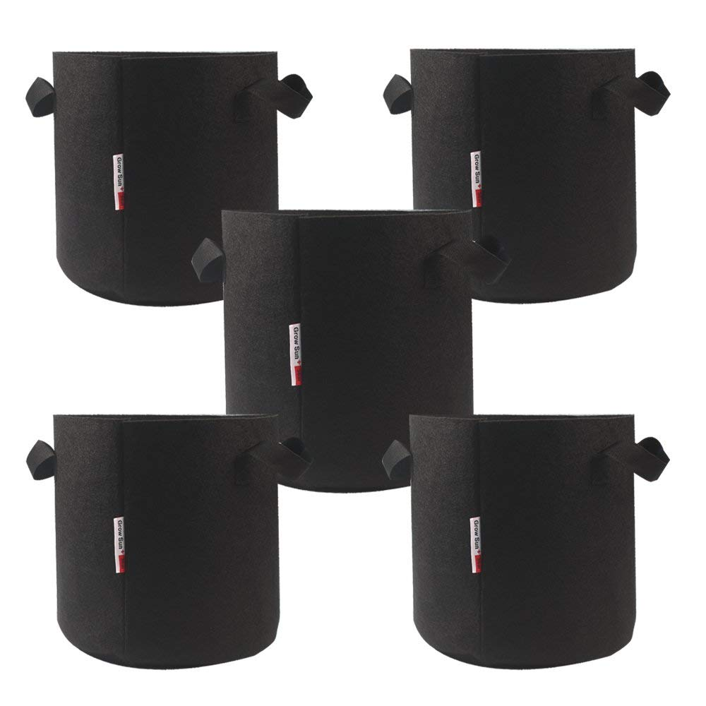 Growsun 2 Gallon 5 Pack Grow Bag Black Round Bags Fabric Pots with Handles for Graden Plant