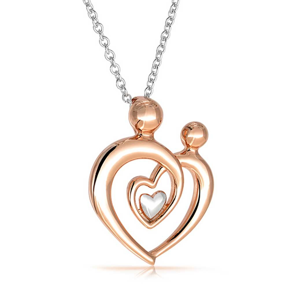 Family Heart Mother and Child brithstone Stainless Steel Pendant in Rose Gold