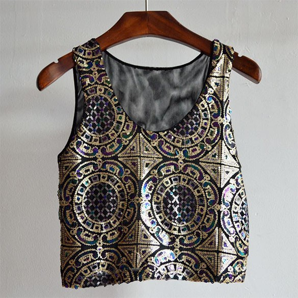 New Fashion Sexy Nightclub 3 Colors Sequined Tank Camisole Vest Vest Crop Tops