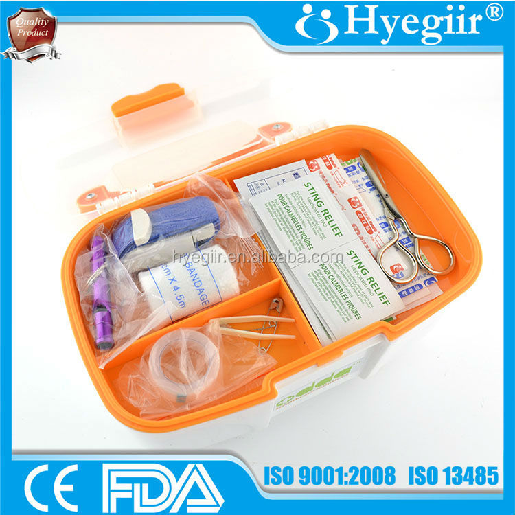 Hot sale OEM top quality plastic first aid box (CE and FDA approval) for home, travel, office and public applicance