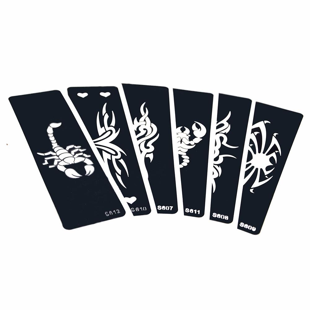 6 Pieces Strip Henna Tattoo Stencil Airbrush Gambar Kalajengking Spider Pola Untuk Wanita Pria Body Art Tattoo Template Keren S600 02