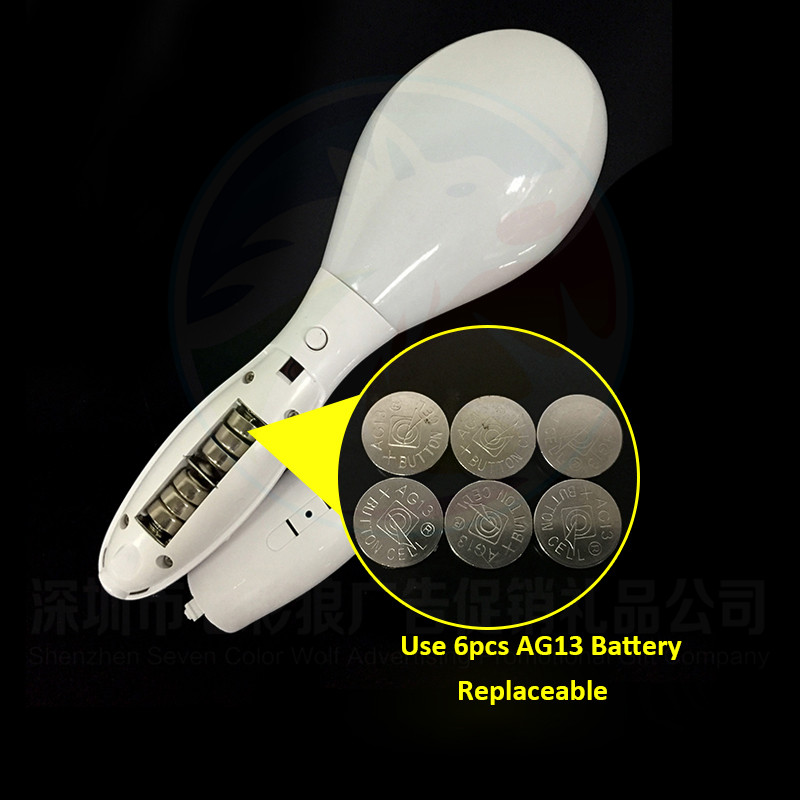 Promotional Colorful LED Night Light Maracas For Kids Customized Logo Battery Operated LED Flashing Plastic Maracas