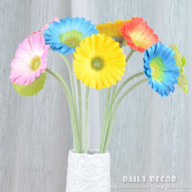 buy wholesale real touch daisy pu artificial flowers felt gerbera wedding. Black Bedroom Furniture Sets. Home Design Ideas
