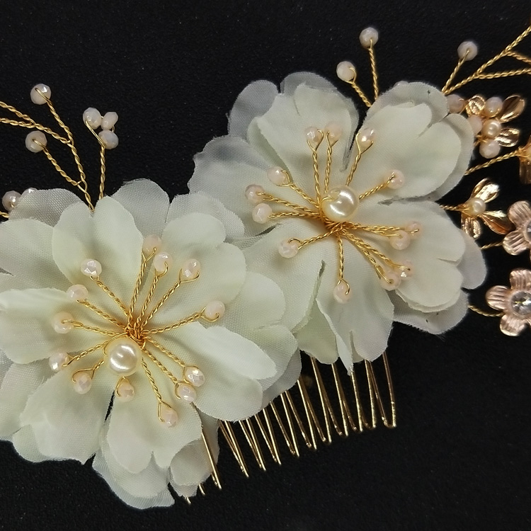 Wedding Flower Hair Combs Organza Flower and Pink Beads Hair Comb Bridal Dress Hair Jewelry Accessory
