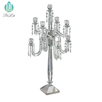 Candle holder 5 arms crystal candelabra tealight glass candle holder for table centerpieces/crystal candle holder 5 arms