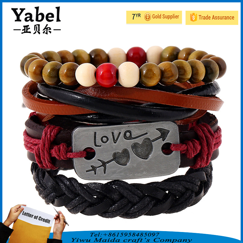 Men women 4pcs/set genuine leather Bracelet wood bead bracelet multi layer knit braided punk bracelet