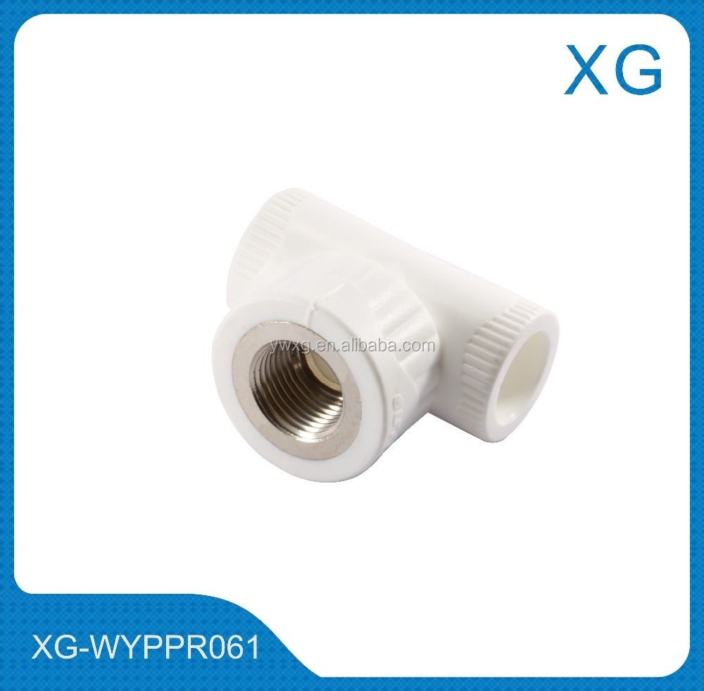 PPR pipe fittings copper threaded tee/male female brass insert tee/plastic water pipe fittings threaded tee