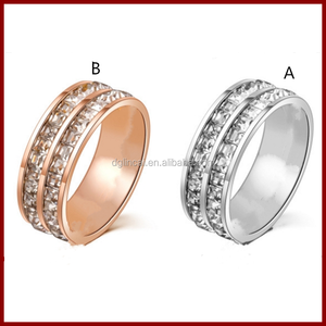 Silver and rose gold color stainless steel rings